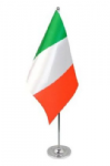 Italy Desk / Table Flag with chrome stand and base.